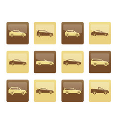 different types of cars icons vector image