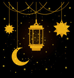 Eid mubarak lantern with moon and stars vector