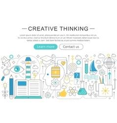 elegant thin flat line Creative thinking vector image