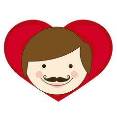 face man hairstyle with heart icon vector image