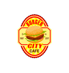fast food burger restaurant icon vector image