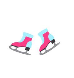 figure skates vintage ice rink equipment footwear vector image