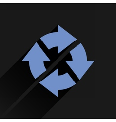 Flat blue arrow icon refresh reset repeat sign vector