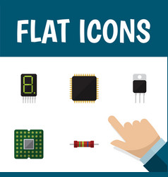 Flat icon electronics set of receiver resistance vector