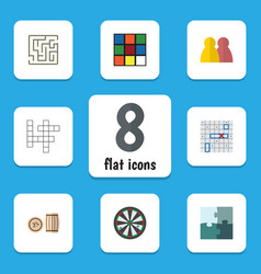 Flat icon entertainment set of lottery jigsaw vector