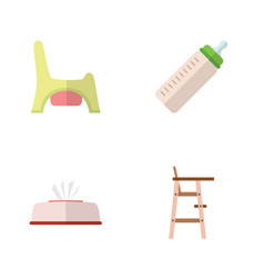 flat infant set of feeder child chair toilet and vector image
