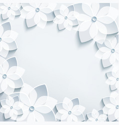 Floral frame with grey 3d flowers sakura vector