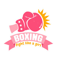 girl boxing with pink glove and ribbon vector image