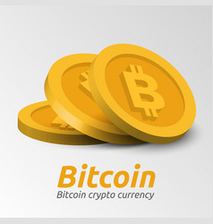 golden bitcoin symbols background vector image