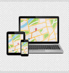 gps navigation map on display of modern digital vector image