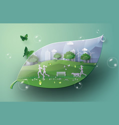 Green city in the leaf vector