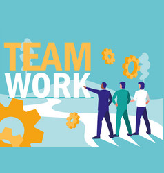 Group of business people with gears vector
