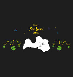 Happy new year theme with map of latvia vector
