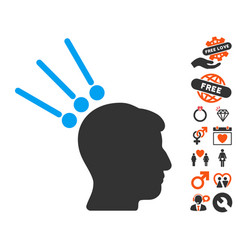 Head test connectors icon with valentine bonus vector