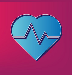 heartbeat sign blue 3d vector image