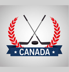 hockey sticks crossed canadian emblem vector image