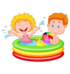 Kids cartoon Playing in an Inflatable Pool vector image