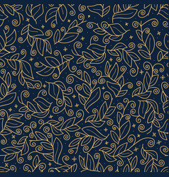 luxury gold cute leaf seamless pattern abstract vector image