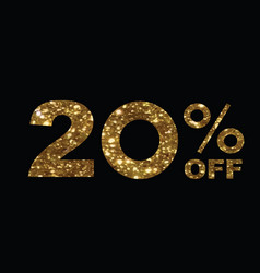 Luxury golden glitter twenty percent off special vector