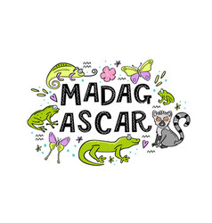 madagscar hand written word with funny animals of vector image