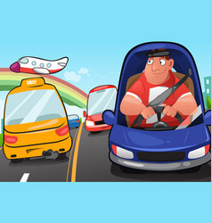 man driving a car vector image