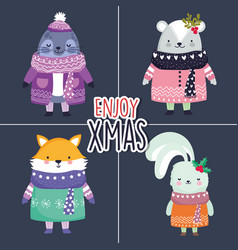 merry christmas celebration cute animals vector image