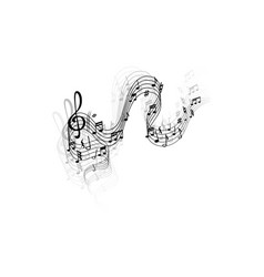 music wave musical notes and treble clef vector image