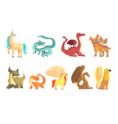 Mythological animals set for label design dragon vector