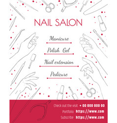 Nail salon template of a poster a flyer or a vector