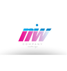 nw n w alphabet letter combination pink blue bold vector image