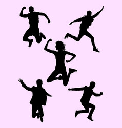 People jumping silhouette 02 vector