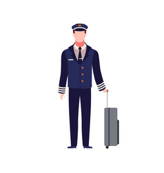 Pilot young capitan airplane male aircraft staff vector