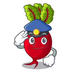 Police cartoon fresh harvested beetroots in wooden vector
