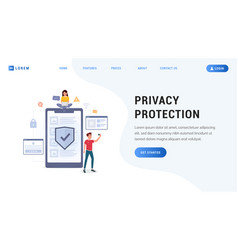 privacy protection landing web page vector image