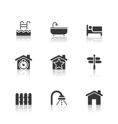 Real Estate Icons Set with reflection vector