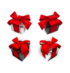 realistic gift box with red bow isolated on gray vector image