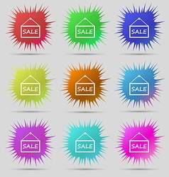 Sale tag icon sign nine original needle buttons vector