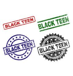 scratched textured black teen stamp seals vector image
