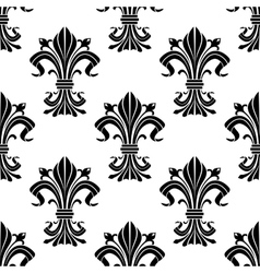 Seamless pattern of black fleur-de-lis flowers vector