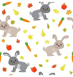 Seamless pattern with cute rabbits carrots apples vector image