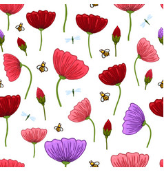 seamless pattern with romantic flowers elements vector image