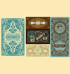 set 5 vintage labels layered vector image