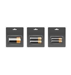 Set of black yellow batteries in gray blister vector