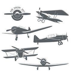 set of vintage airplane vector image