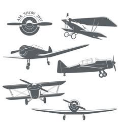 Set of vintage airplane vector