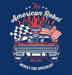 shirt design muscle car with big engine vector image