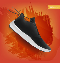 Sneakers on abstract background realistic style vector