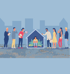 Social isolation concept with person at home vector