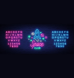 Space nightclub logo in neon style neon sign vector
