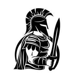 Spartan sign with sword and shield vector
